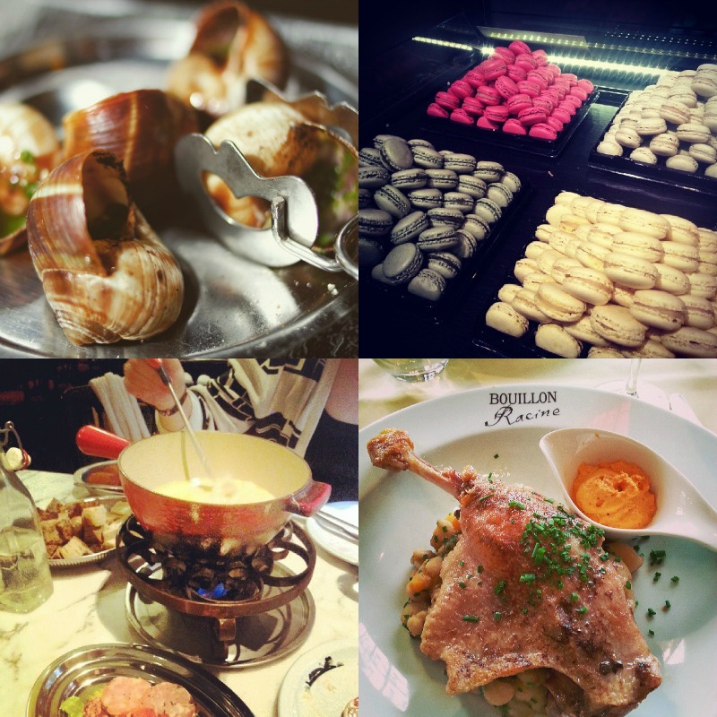 French cuisine at its best: snails, macarons, fondue and duck.