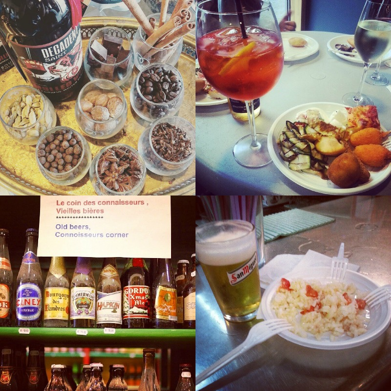 Mulled wine with spices from Colorado, Italian-style apero, beer selection in Belgium, and beer in Madrid that comes with a plate of paella